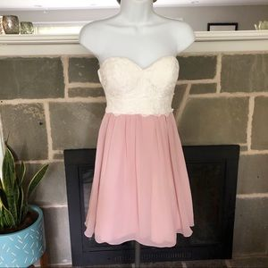 SPEECHLESS | Strapless Sweetheart Lace Dress Pink